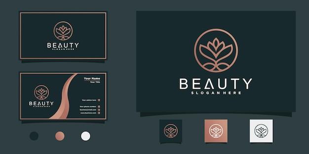Bloemlogo-ontwerp met cirkelvormig lijnkunstconcept en visitekaartjeontwerp premium vector