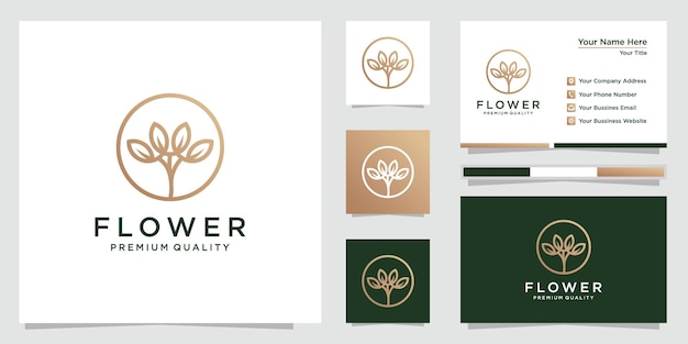 Bloemlogo-ontwerp met lijnstijl en visitekaartje. logo's kunnen worden gebruikt voor spa, schoonheidssalon, decoratie, boetiek, cosmetica. premie