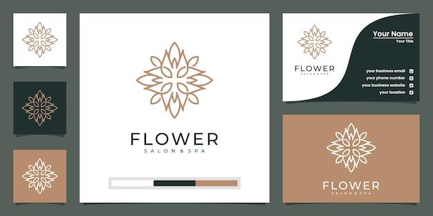 Bloemlogo-ontwerp met lijnstijl. logo's kunnen worden gebruikt voor spa, schoonheidssalon, decoratie, boetiek. en visitekaartje Premium Vector