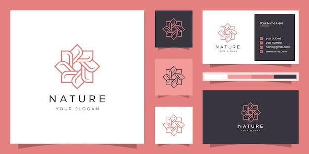 Bloemlogo-ontwerp met lijnstijl. logo's kunnen worden gebruikt voor spa, schoonheidssalon, decoratie, boetiek.