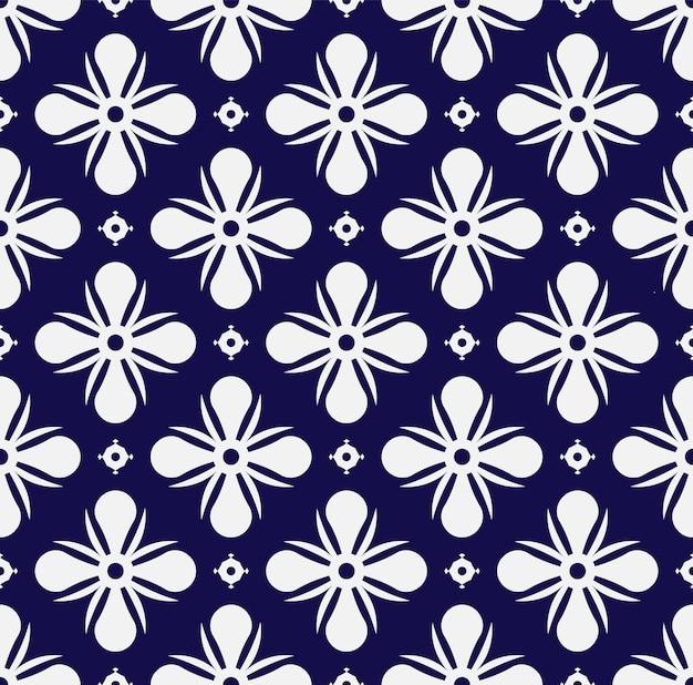 Bloemmotief blauw en wit