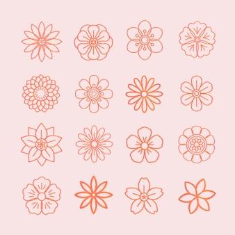 Bloemmotief en bloemenpictogrammen