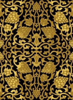 Bloemmotief gouden sjabloon voor textielsjaaltapijt