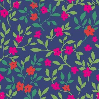 Bloemmotief met bloeiend en gebladertepatroon