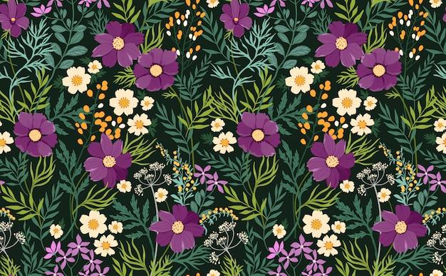 Bloemmotief met hand tekenen bloemen. naadloze vintage achtergrond.
