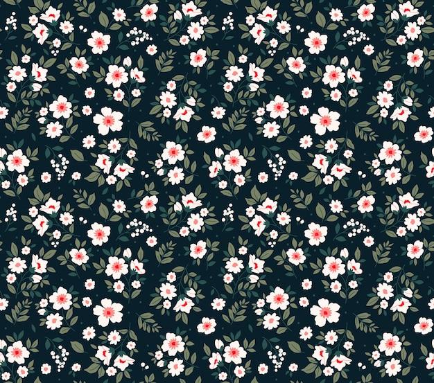Bloemmotief moderne bloemen zwarte achtergrond bedrukking met kleine witte bloemen ditsy print