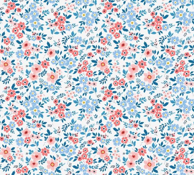 Bloemmotief mooie bloemen witte achtergrond kleine roze en blauwe bloemen ditsy print