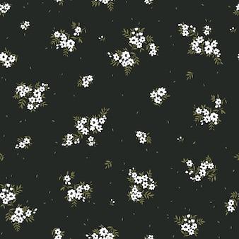 Bloemmotief mooie bloemen zwarte achtergrond bedrukking met kleine witte bloemen ditsy print
