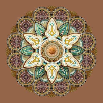 Bloemmotief patroon ontwerp in aardetint