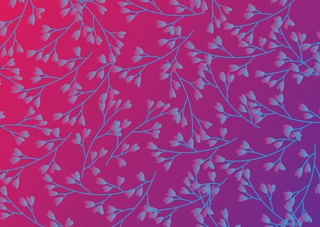 Bloempatroon met neon paarse achtergrond