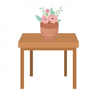 Bloempot boven tafel