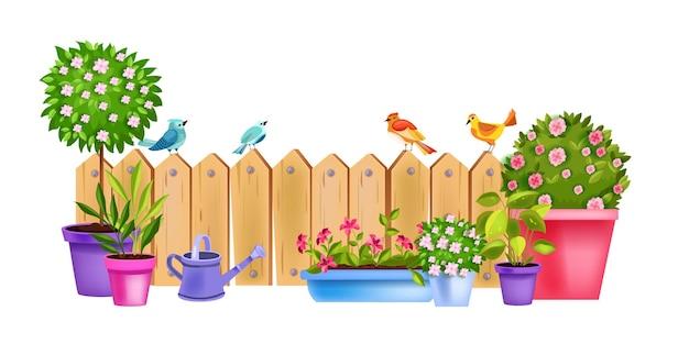 Bloempot lentetuin concept met bloeiende kamerplanten, bloesemroos, boom, struiken, gieter.