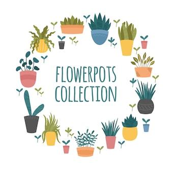 Bloempotten collectie. set van binnen en buiten decoratieve tuin potplanten. hand getekende cartoon, scandinavische hygge-stijl. ronde sjabloonrand op witte achtergrond
