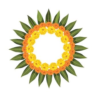 Bloemrangoli gemaakt met goudsbloem of zendu of genda bloemen en mangobladeren