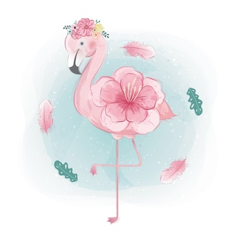 Bloemrijke flamingo