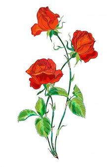Bloemstuk met rood roze bloemen.