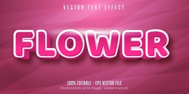 Bloemtekst, bewerkbaar teksteffect in roze kleur