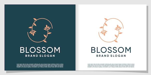 Bloesem-logo met modern en uniek concept premium vector