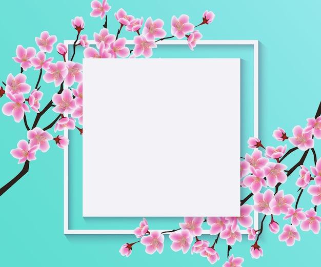 Bloesemsakura of kersenbloemen op lege frame vectorillustratie op een blauw