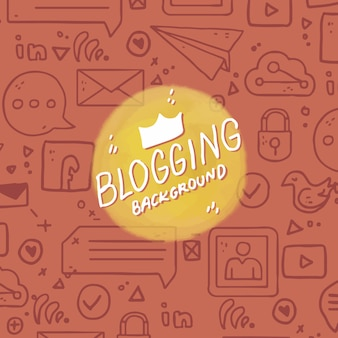 Blog achtergrond met de hand getekende elementen