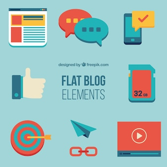 Blog elementen in plat design