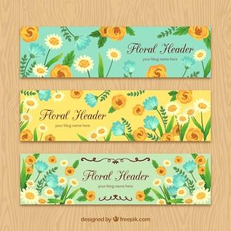 Blog header met de hand geschilderde bloemen