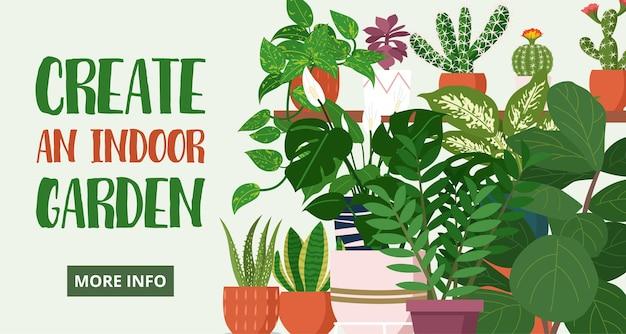 Blogbanner, verschillende kamerplanten voor binnen