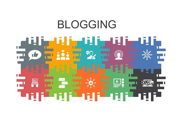 Bloggen cartoon sjabloon met platte elementen. bevat pictogrammen zoals sociale media, opmerkingen, blogger, digitale inhoud