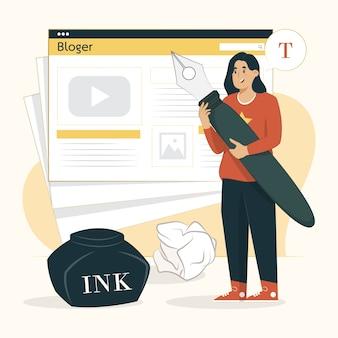 Bloggen concept jonge schrijver illustratie