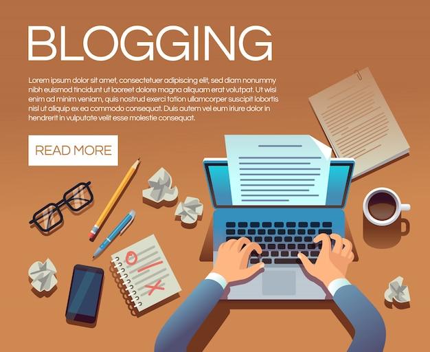 Bloggen concept. verhaalboek- en blogartikelen schrijven. schrijver journalist copywriter type op laptop vector banner