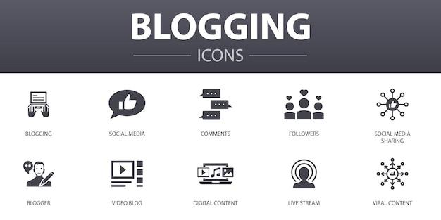 Bloggen eenvoudig concept iconen set. bevat pictogrammen zoals sociale media, opmerkingen, blogger, digitale inhoud en meer, kan worden gebruikt voor web, logo, ui/ux