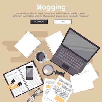 Bloggen en journalistiek concept