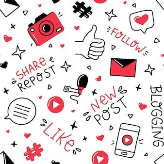 Bloggen en sociale netwerken naadloos patroon in doodle-stijl