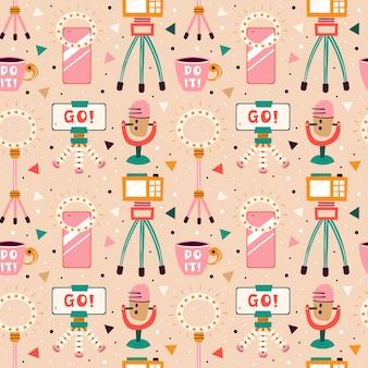 Bloggen, vloggen set. items filmen. camera, smartphone, statief, bliksem, selfie, stream, beker. plat kleurrijk naadloos patroon