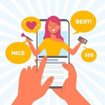Blogger-beoordelingsconcept met vrouw
