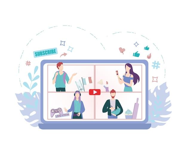 Blogger concept illustratie. deel inhoud op internet.