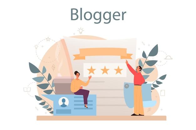 Blogger concept. media-inhoud delen op internet. idee van sociale media en netwerk. online communicatie.