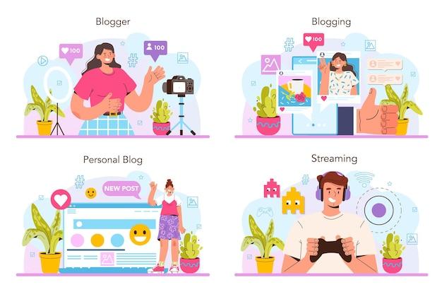 Blogger-conceptenset. karakter delen van media-inhoud op internet. idee van sociale media en netwerk. online communicatie, creatief beroep of hobby. geïsoleerde platte vectorillustratie