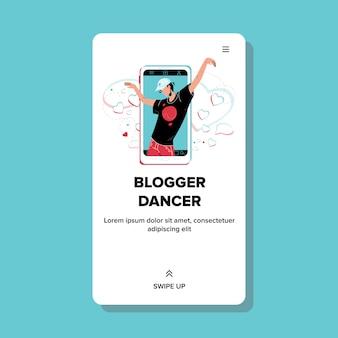 Blogger-danseres dansen op het scherm van de smartphone
