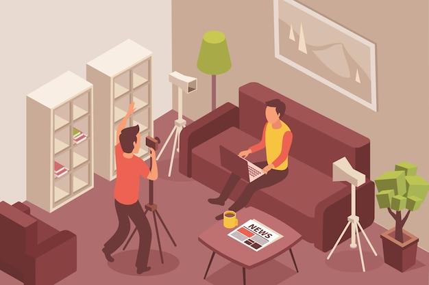 Blogger isometrische illustratie