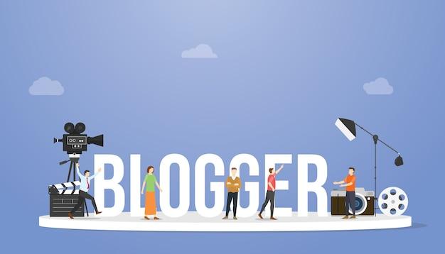 Blogger of vlogger concept met grote tekst of woord en professionele mensen met sommige hulpmiddelen met moderne vlakke stijl