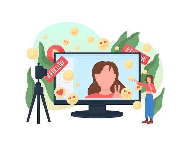 Blogger platte concept illustratie
