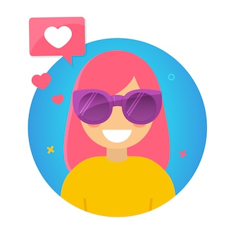 Blogger populair jong meisje met roze haar.