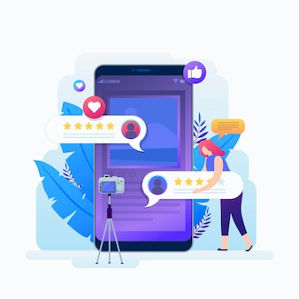 Blogger-recensie met vrouw en smartphone