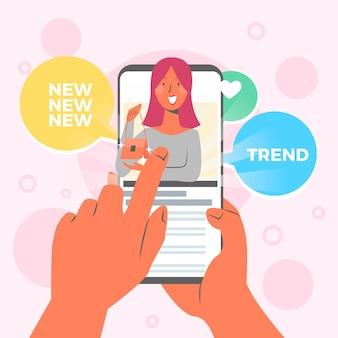 Blogger review concept illustratie met vrouw