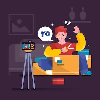 Blogger review illustratie concept