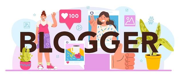 Blogger typografische kop. personages die media-inhoud delen op internet