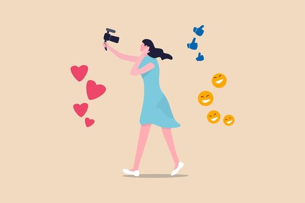 Blogger, vlog, influencer mensen uit het nieuwe digitale tijdperk zenden hun levensstijl uit of nemen deze op om het verhaal op het sociale mediaconcept te promoten, een mooie jonge dame die de camera vasthoudt met liefde, zoals en blij teken.