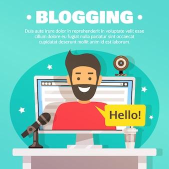 Blogger werkruimte achtergrond illustratie
