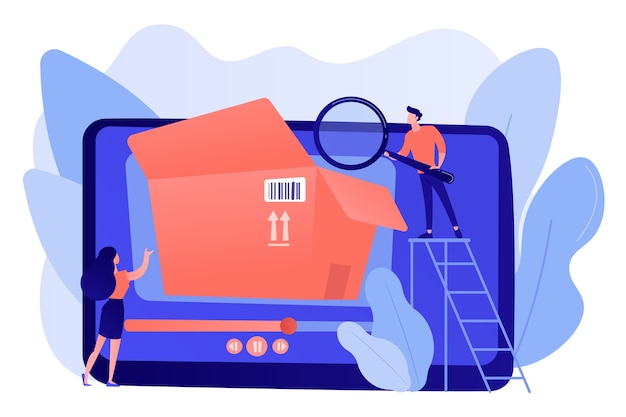 Bloggers met vergrootglas kijken in de doos met nieuwe aankoopvideo. unboxing-video, productreview-video, contentconcept voor winkelapparatuur